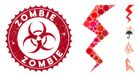 Mosaic zigzag strike icon and grunge stamp seal with Zombie caption and biohazard symbol. Mosaic vector is composed with zigzag strike pictogram and with scattered round items.