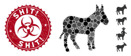 Mosaic donkey icon and rubber stamp watermark with Shit! phrase and biohazard symbol. Mosaic vector is formed with donkey pictogram and with random round spots. Shit! stamp uses red color, Ilustração