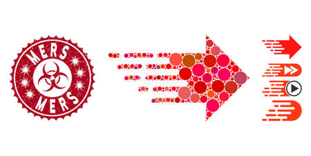 Mosaic express right movement icon and corroded stamp seal with Mers text and biohazard symbol. Mosaic vector is formed from express right movement icon and with scattered round elements. Illustration