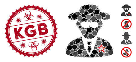 Collage KGB spy icon and distressed stamp seal with KGB caption and biohazard symbol. Mosaic vector is created with KGB spy icon and with randomized spheric elements. KGB stamp seal uses red color,
