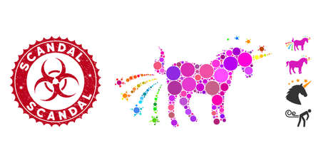 Mosaic farting unicorn icon and grunge stamp seal with Scandal text and biohazard symbol. Mosaic vector is composed from farting unicorn icon and with random round items. Scandal stamp uses red color,