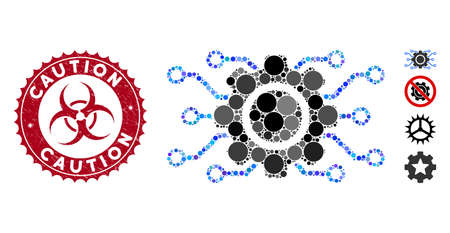 Mosaic electronic gearwheel icon and corroded stamp seal with Caution phrase and biohazard symbol. Mosaic vector is created with electronic gearwheel pictogram and with randomized round elements.