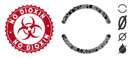 Mosaic empty icon and grunge stamp seal with No Dioxin caption and biohazard symbol. Mosaic vector is formed with empty icon and with scattered circle items. No Dioxin seal uses red color,