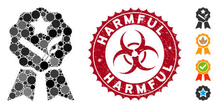 Mosaic best tobacco icon and distressed stamp seal with Harmful caption and biohazard symbol. Mosaic vector is created with best tobacco icon and with random round items. Harmful seal uses red color,