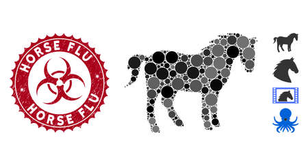 Mosaic horse icon and distressed stamp seal with Horse Flu text and biohazard symbol. Mosaic vector is created with horse icon and with scattered round spots. Horse Flu stamp seal uses red color, Illustration