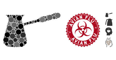 Mosaic coffee cezve icon and rubber stamp seal with Avian Flu caption and biohazard symbol. Mosaic vector is created from coffee cezve icon and with scattered circle spots.