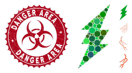Mosaic execute icon and distressed stamp watermark with Danger Area caption and biohazard symbol. Mosaic vector is created with execute icon and with random round elements.