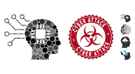 Mosaic brain circuit icon and distressed stamp seal with Cyber Attack caption and biohazard symbol. Mosaic vector is designed with brain circuit icon and with random round spots.