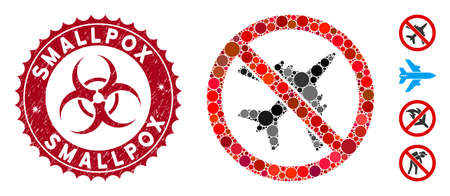 Mosaic no airplane icon and grunge stamp seal with Smallpox caption and biohazard symbol. Mosaic vector is composed from no airplane icon and with random round elements.