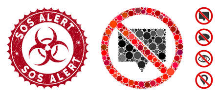 Mosaic no banner icon and rubber stamp watermark with Sos Alert phrase and biohazard symbol. Mosaic vector is designed with no banner pictogram and with random round spots.