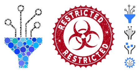Mosaic circuit filter icon and grunge stamp seal with Restricted text and biohazard symbol. Mosaic vector is formed with circuit filter icon and with randomized spheric items. Stock Illustratie