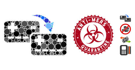 Mosaic card to card transfer icon and grunge stamp seal with Anti-Mers Quarantine caption and biohazard symbol. Mosaic vector is composed with card to card transfer icon and with random circle items.