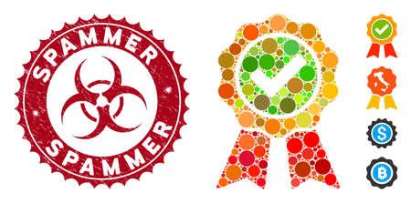 Mosaïque la meilleure icône et sceau de tampon en caoutchouc avec phrase Spammer et symbole de danger biologique. Le vecteur mosaïque est conçu avec la meilleure icône et avec des éléments de cercle aléatoires. Le sceau de timbre de spammeur utilise la couleur rouge,