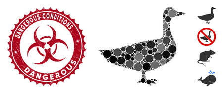 Mosaic goose icon and rubber stamp watermark with Dangerous Conditions caption and biohazard symbol. Mosaic vector is created with goose icon and with random circle items.