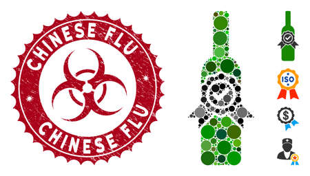 Mosaic finest wine icon and grunge stamp seal with Chinese Flu caption and biohazard symbol. Mosaic vector is composed with finest wine icon and with random spheric spots. Ilustração