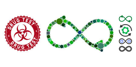 Mosaic infinite motion icon and distressed stamp seal with Drug Test text and biohazard symbol. Mosaic vector is composed with infinite motion icon and with random circle spots.