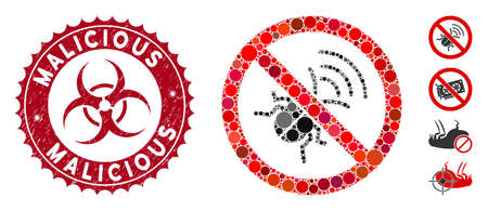 Mosaic no spy bug icon and distressed stamp seal with Malicious caption and biohazard symbol. Mosaic vector is designed from no spy bug pictogram and with randomized circle elements.