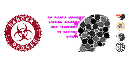 Mosaic fast thinking icon and corroded stamp seal with Danger caption and biohazard symbol. Mosaic vector is created from fast thinking icon and with scattered spheric items. Ilustrace