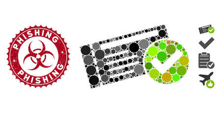 Mosaic passed icon and corroded stamp seal with Phishing phrase and biohazard symbol. Mosaic vector is designed with passed pictogram and with scattered spheric elements.