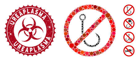 Mosaic no fishing hook icon and grunge stamp watermark with Ureaplasma caption and biohazard symbol. Mosaic vector is created with no fishing hook icon and with randomized circle elements. Vektorové ilustrace