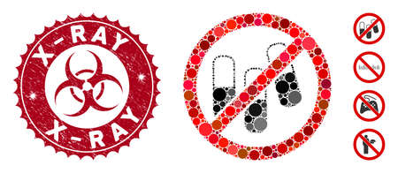 Mosaic no medical granules icon and distressed stamp seal with X-Ray text and biohazard symbol. Mosaic vector is formed with no medical granules icon and with random circle items.