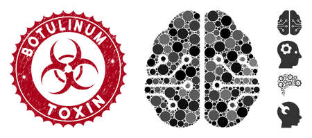 Mosaic electronic brain icon and rubber stamp seal with Botulinum Toxin phrase and biohazard symbol. Mosaic vector is designed with electronic brain icon and with random round elements.