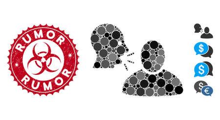 Icona mosaico rumor e sigillo timbro in difficoltà con frase Rumor e simbolo di rischio biologico. Il vettore del mosaico viene creato con l'icona della voce e con punti rotondi sparsi. Il sigillo di voce usa il colore rosso,