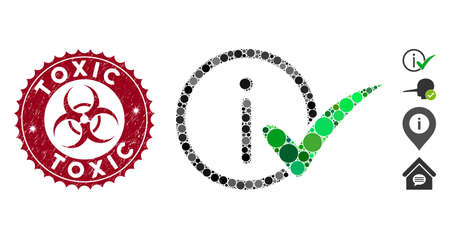 Mosaic truth information icon and distressed stamp seal with Toxic caption and biohazard symbol. Mosaic vector is designed with truth information icon and with scattered round elements. Stock Illustratie