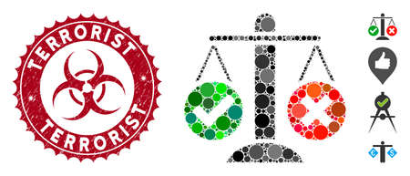 Mosaic truth decision icon and rubber stamp seal with Terrorist phrase and biohazard symbol. Mosaic vector is formed with truth decision icon and with scattered circle elements.