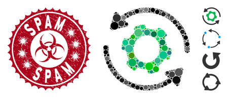 Mosaic infinite rotation icon and distressed stamp seal with Spam text and biohazard symbol. Mosaic vector is composed from infinite rotation icon and with randomized spheric items.
