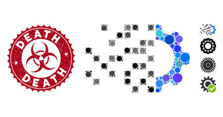 Mosaic gear synthesis icon and corroded stamp seal with Death text and biohazard symbol. Mosaic vector is created with gear synthesis icon and with random round items. Death stamp uses red color,  イラスト・ベクター素材