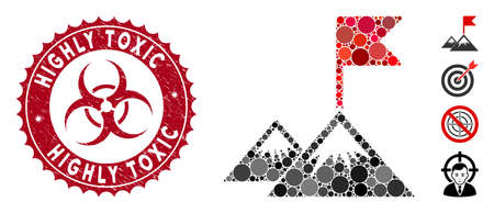 Mosaic mission flag icon and rubber stamp seal with Highly Toxic phrase and biohazard symbol. Mosaic vector is designed with mission flag icon and with random spheric spots.