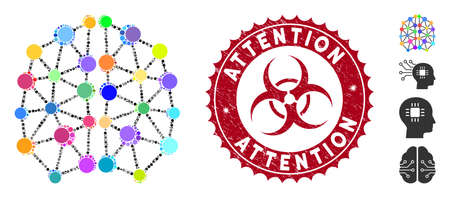 Mosaic artificial brain icon and grunge stamp seal with Attention phrase and biohazard symbol. Mosaic vector is created with artificial brain icon and with random spheric elements. Illustration