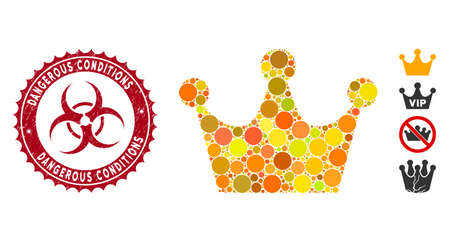 Mosaic gold crown icon and grunge stamp seal with Dangerous Conditions text and biohazard symbol. Mosaic vector is formed with gold crown pictogram and with randomized spheric elements. 向量圖像