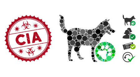 Mosaic for dogs icon and distressed stamp watermark with CIA text and biohazard symbol. Mosaic vector is composed with for dogs icon and with randomized round elements. CIA stamp uses red color,