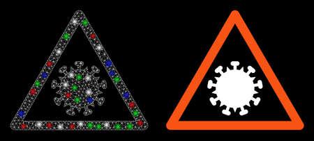 Bright white mesh SARS virus warning with glare effect. Abstract illuminated model of SARS virus warning. Shiny wire frame polygonal mesh SARS virus warning icon on a black background. Illustration