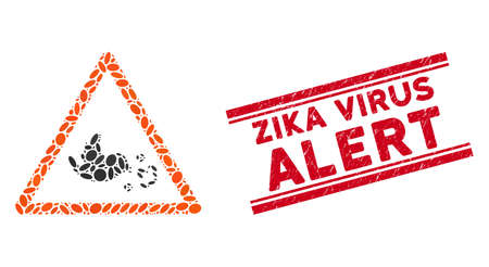 Mosaic bird influenza warning icon and grunge stamp watermark with red Zika Virus Alert caption between double parallel lines.