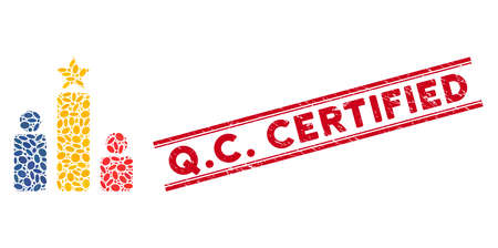Mosaic social rating icon and corroded stamp seal with red Q.C. Certified text between double parallel lines. Mosaic vector is formed with social rating icon and with scattered elliptic spots. Q.C.