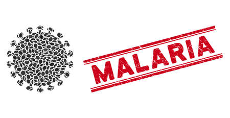 Mosaic virus shell icon and rubber stamp seal with red Malaria caption between double parallel lines. Mosaic vector is composed with virus shell icon and with randomized oval elements. Ilustrace