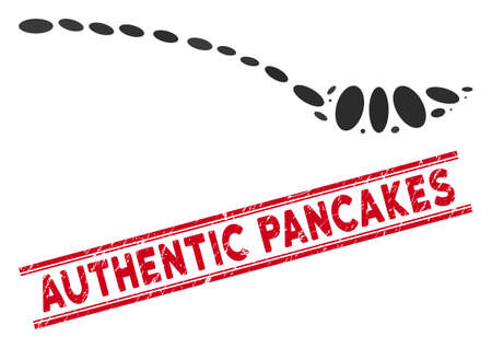 Mosaic empty spoon icon and grunge stamp watermark with red Authentic Pancakes phrase between double parallel lines. Mosaic vector is formed from empty spoon icon and with scattered ellipse items. Illusztráció