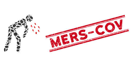 Mosaic coronavirus sickness icon and corroded stamp seal with red Mers-Cov phrase between double parallel lines.