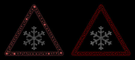 Glowing mesh snow warning with sparkle effect. Abstract illuminated model of snow warning icon. Shiny wire frame polygonal mesh snow warning icon. Vector abstraction on a black background. Stock Illustratie
