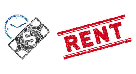 Mosaic rent payment pictogram and red Rent seal stamp between double parallel lines. Flat vector rent payment mosaic pictogram of scattered rotated rectangular items.