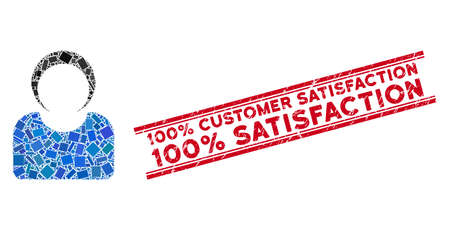 Mosaic customer icon and red 100% Customer Satisfaction 100% Satisfaction stamp between double parallel lines. Flat vector customer mosaic icon of scattered rotated rectangle items.