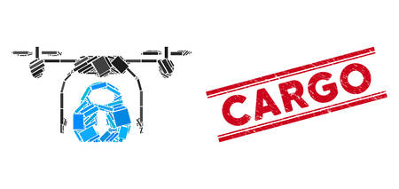 Mosaic drone drop cargo icon and red Cargo seal stamp between double parallel lines. Flat vector drone drop cargo mosaic icon of randomized rotated rectangle elements.