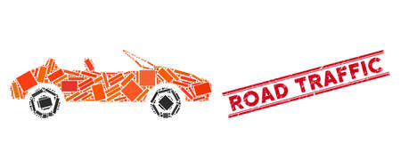 Mosaic cabriolet pictogram and red Road Traffic seal stamp between double parallel lines. Flat vector cabriolet mosaic pictogram of random rotated rectangle items. Ilustracja