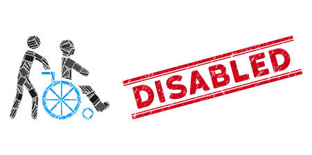 Mosaic disabled person transportation icon and red Disabled seal stamp between double parallel lines. Flat vector disabled person transportation mosaic icon of random rotated rectangle elements. Vectores