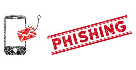 Mosaic smartphone message phishing pictogram and red Phishing rubber print between double parallel lines.