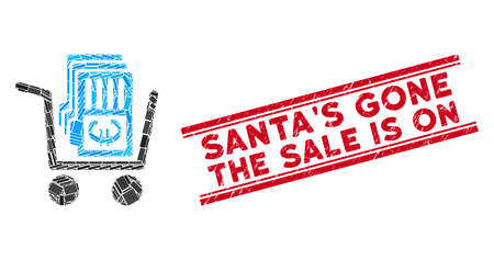 Mosaic Euro cash out cart icon and red SantaS Gone the Sale Is On seal between double parallel lines. Flat vector Euro cash out cart mosaic icon of randomized rotated rectangular elements. Illusztráció
