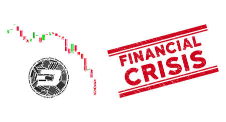 Mosaic Dashcoin panic fall chart pictogram and red Financial Crisis stamp between double parallel lines. Flat vector Dashcoin panic fall chart mosaic pictogram of scattered rotated rectangle elements.